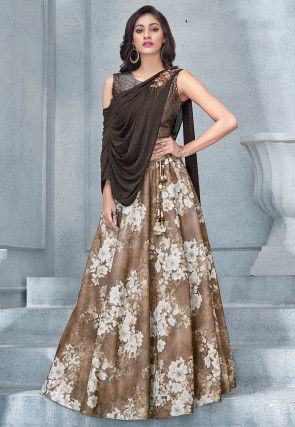 Digital Printed Lycra Lehenga in Light Brown