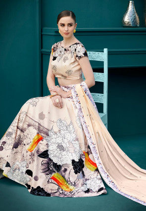 Digital Printed Lycra Lehenga in Off White