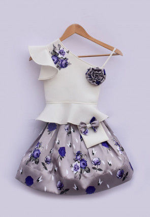 Digital Printed Lycra Peplum Top N Skirt in White
