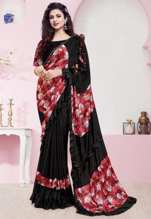 Digital Printed Lycra Saree in Black and Red