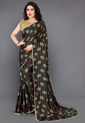 Digital Printed Lycra Saree in Dark Green and Black