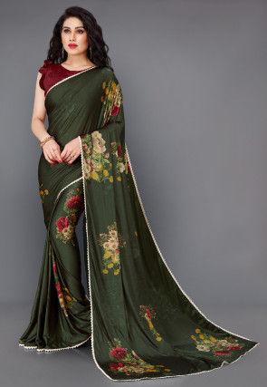 Digital Printed Lycra Saree in Dark Green