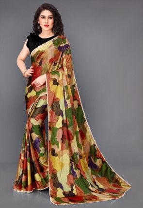 Digital Printed Lycra Saree in Multicolor