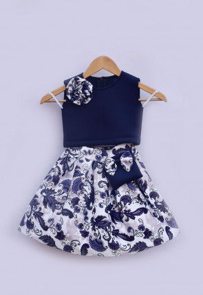Digital Printed Lycra Top N Skirt in Navy Blue