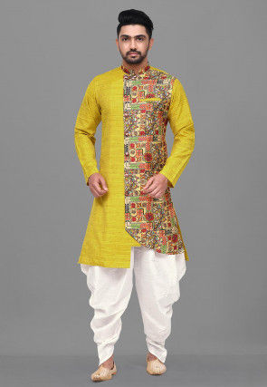 Digital Printed Matka Silk Dhoti Kurta in Mustard