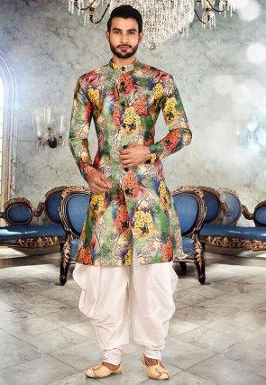 Digital Printed Matka Silk Dhoti Sherwani in Multicolor