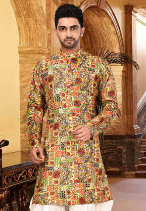 Digital Printed Matka Silk Kurta in Multicolour