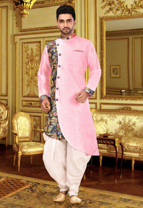Digital Printed Matka Silk Sherwani in Baby Pink and Multicolour