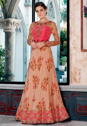 Digital Printed Modal Silk Jacquard Gown in Peach