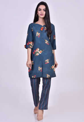 Digital Printed Muslin Cotton Kurta Set in Blue