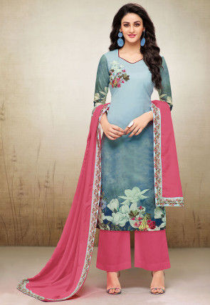 Digital Printed Muslin Cotton Pakistani Suit in Shaded Blue