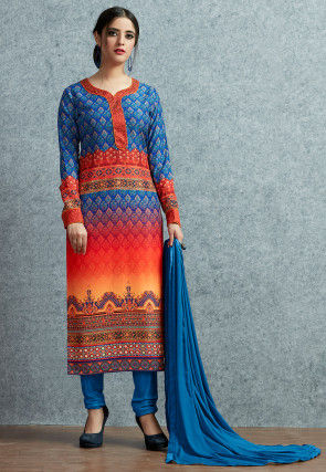 Digital Printed Muslin Cotton  Straight Suit in Blue