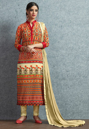 Digital Printed Muslin Cotton  Straight Suit in Red and Beige