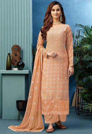 Digital Printed Muslin Silk Pakistani Suit in Peach