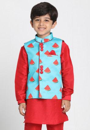 Digital Printed Cotton Silk Nehru Jacket in Light Blue