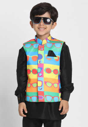 Digital Printed Cotton Silk Nehru Jacket in Multicolor