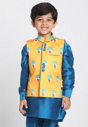 Digital Printed Cotton Silk Nehru Jacket in Yellow