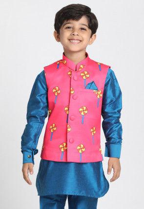 Digital Printed Cotton Silk Nehru Jacket in Pink