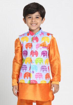 Digital Printed Cotton Silk Nehru Jacket in Multicolor