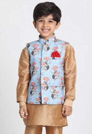 Digital Printed Cotton Silk Nehru Jacket in Sky Blue