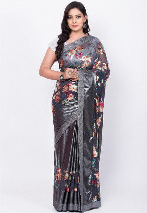 Digital Printed Net Saree in Grey