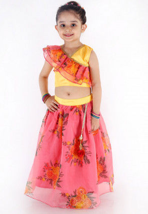 Digital Printed Organza Crop Top N Skirt in Pink and Yellow