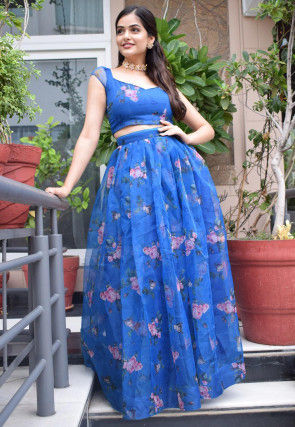 Digital Printed Organza Crop Top N Skirt in Blue