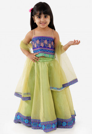 Digital Printed Organza Lehenga in Light Green