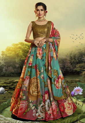 Digital Printed Organza Lehenga in Multicolor