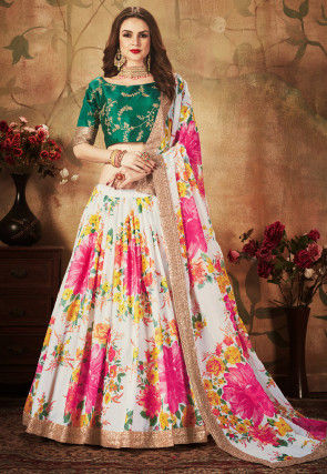 Digital Printed Organza Lehenga in Off White and Pink