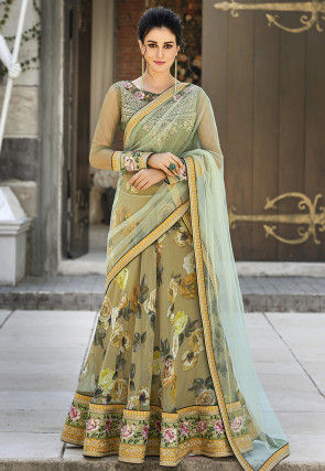 Digital Printed Organza Lehenga in Olive Green