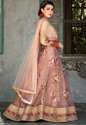 Digital Printed Organza Lehenga in Peach