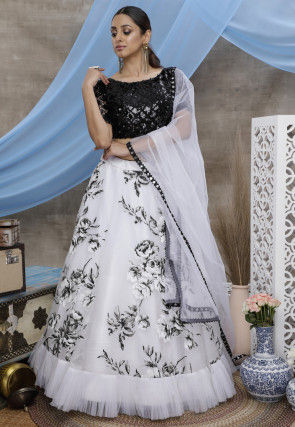 Digital Printed Organza Lehenga in White