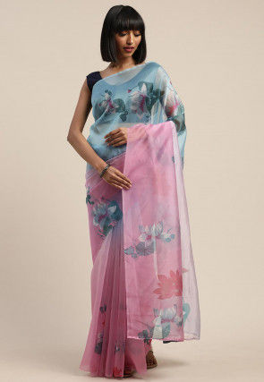 Digital Printed Organza Saree in Dusty Pink and Blue