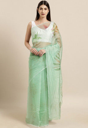 Digital Printed Organza Saree in Light Green
