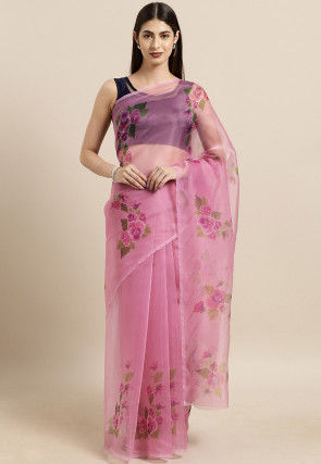 Digital Printed Organza Saree in Light Pink