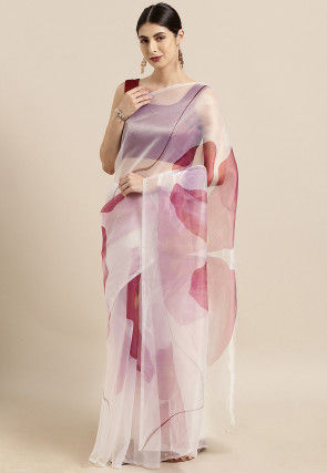 Digital Printed Organza Saree in Off White