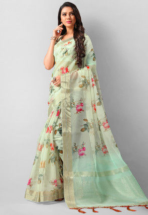 Digital Printed Organza Saree in Pastel Green