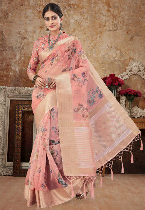 Digital Printed Organza Saree in Peach