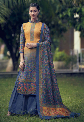 Digital Printed Pashmina Pakistani Suit in Mustard and Blue