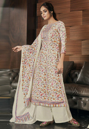 Digital Printed Pashmina Silk Pakistani Suit in Cream