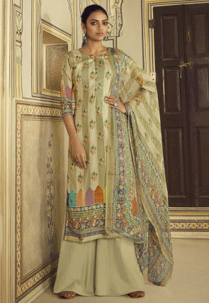 Digital Printed Pashmina Silk Pakistani Suit in Dusty Green