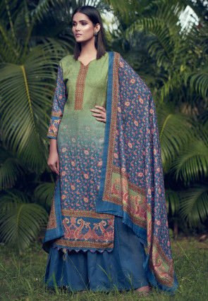 Digital Printed Pashmina Silk Pakistani Suit in Green and Blue