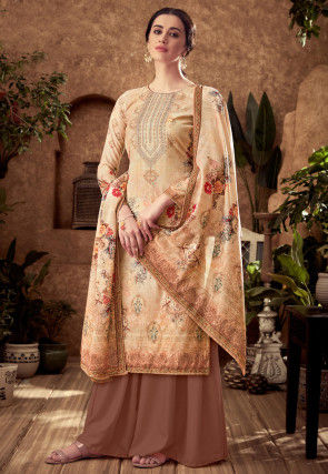 Digital Printed Pashmina Silk Pakistani Suit in Light Beige