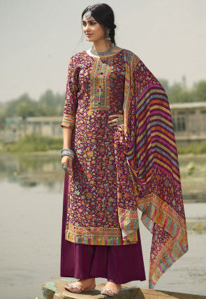 Digital Printed Pashmina Silk Pakistani Suit in Magenta