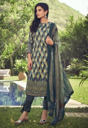 Digital Printed Pashmina Silk Pakistani Suit in Multicolor