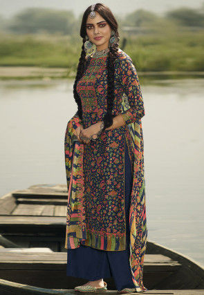Digital Printed Pashmina Silk Pakistani Suit in Navy Blue