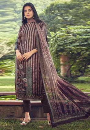 Digital Printed Pashmina Silk Pakistani Suit in Old Rose