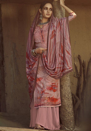 Digital Printed Pashmina Silk Pakistani Suit in Pink