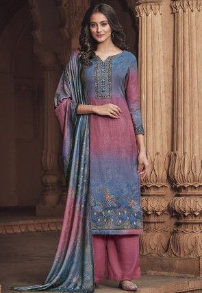Digital Printed Pashmina Silk Pakistani Suit in Shaded Blue and Pink